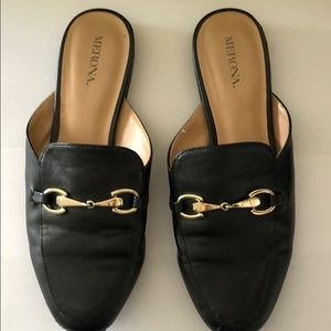 Black Merona Mules with Gold Detail 7.0